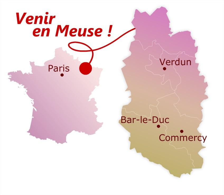 Carte Venir en Meuse